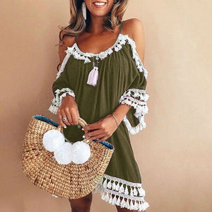 Women Vintage Casual Dress Off Shoulder Sexy Summer Dress 2019 Tassel Party Beach Mini Dresses Sling Sundress Vestidos Sukienka