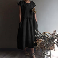 Celmia 2019 Summer Vinatge Women Pleated Linen Long Shirt Dress Casual Short Sleeve Loose Maxi Vestidos Robe Plus Size Sundress