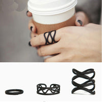 Multilayer Hollow Cross Mini Finger Tip Rings Set Stack Plain Knuckle Ring