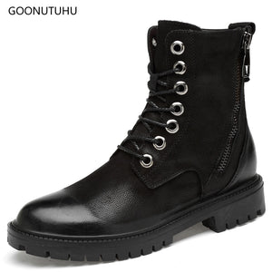 2018 winter men's boots tactical military casual shoes man genuine leather boot