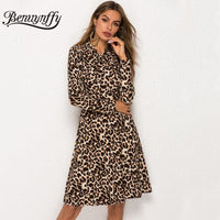 Lady Leopard Dress Spring Women Fashion Long Sleeve Elegant