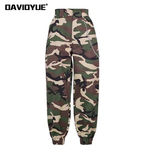 2019 Fashion Chain Military Camouflage pants women Army black high waist loose Camo