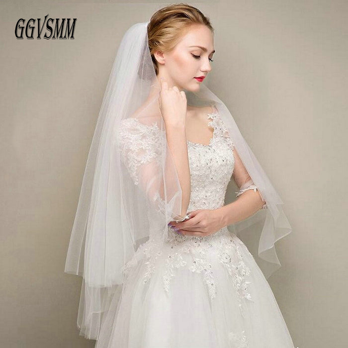 Simple Two Layers Short Tulle White Wedding Veils Cheap 2019 Ivory Bridal