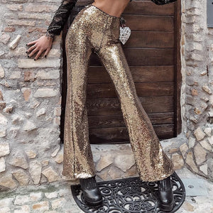 7Mang Glitter Sequin Flare Pants Elastic High Waist Pants Women Silver Gold Capris Club Party Soft Fashion Sexy Trousers 1221