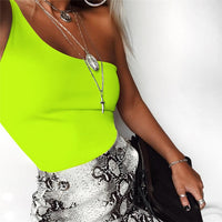 Cryptographic Solid Neon Bodysuit Slim Fashion Summer One Shoulder Sleeveless