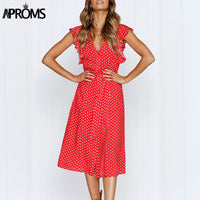 Boho Polka Dot Print Dress Women Casual Sleeveless V Neck Red Sundress