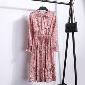Summer Korean Chiffon Women Dress Elegant Ladies Vintage Long Dress
