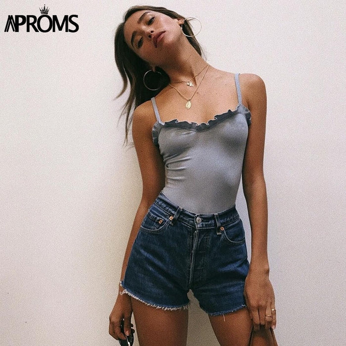 Aproms Ruffles Ribbed Knitted Bodysuit Women Sleeveless Slim Romper Jumpsuit High Street Bodysuits Basic Tops for Women Clothing