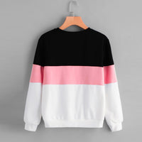 Hoodies Women Pink Patchwork Sweatshirt Womens Streetwear Womens Clothing Long Sleeve O Neck 2019 Women Clothes Sudaderas Mujer