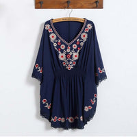 2019 Summer Ethnic Style Embroidery Bats Sleeves Maternity Shirts  Pregnancy