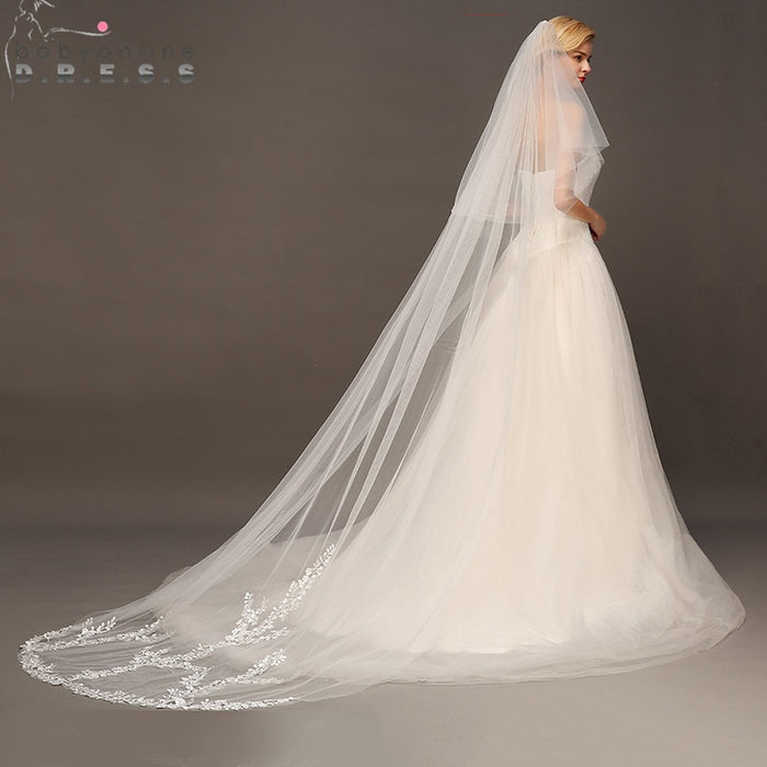 Voile Mariage 3M Two Layer Lace Edge White Ivory Cathedral Wedding Veil Long