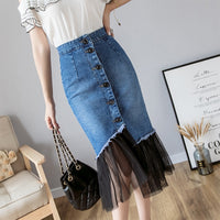 2019 Women Jeans Skirt High Waist Ruffles Silm Package Hip Midi Blue Denim Mermaid Skirts Single Breasted Mesh Patchwork Faldas