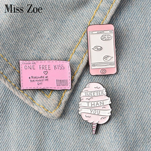 ONE FREE KISS Ticket Sweeter Candyfloss Enamel Pins Badges Brooches Lapel pin Denim Shirt Collar Sweet Pink Love Jewelry Gift