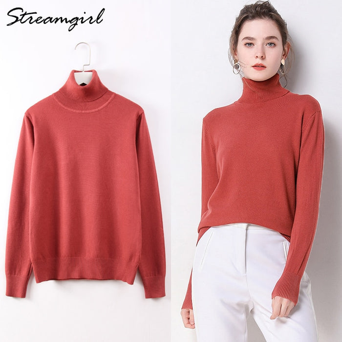 Turtleneck Sweater Women Sweaters Female Knitted Jumper White Sweater Female Knitted Pullover Ladies Pink Sweaters For Women