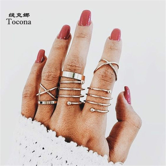 Tocona Bohemia New Fashion Hollow Simple Gold Color 6pcs/set Multi-layer Opening Finger Rings For Women Ladies Jewelry 5562
