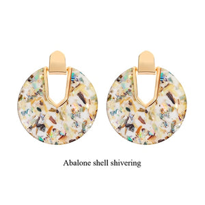 2019 New Style Pearl Abalone Shell Round Drop Dangle Earrings Women
