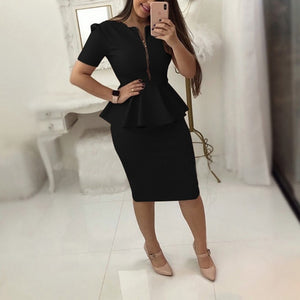 Office Work Dress Women Solid Dresses Short Sleeve Ol Business Dress Elegant Sheath Party Vestidos Blue Black Plus Size