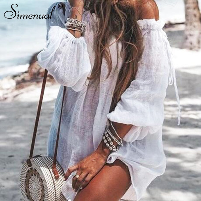 Simenual Casual Oversized Beach Sundress Bohemian Vintage Dresses Ruffles Off Shoulder Solid Beachwear Summer 2019 Women Dress