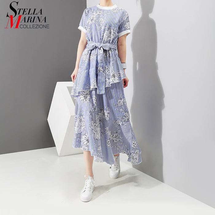 New 2019 Pin Up Design Summer Women Blue Striped Tunic Dress With Belt Short Sleeve Floral Print Girls Cute Wear Sun Dress 3423