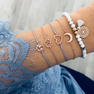 5 Pcs/set Women Fashion Moon Heart Map Lotus Tassel Beaded Bracelet Set Boho