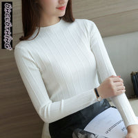 OHCLOTHING 2019 Free Shipping Women Stretch Knit Undershirt  Turtleneck Solid Sweater Knitted Wear Knitting Slim Pullovers