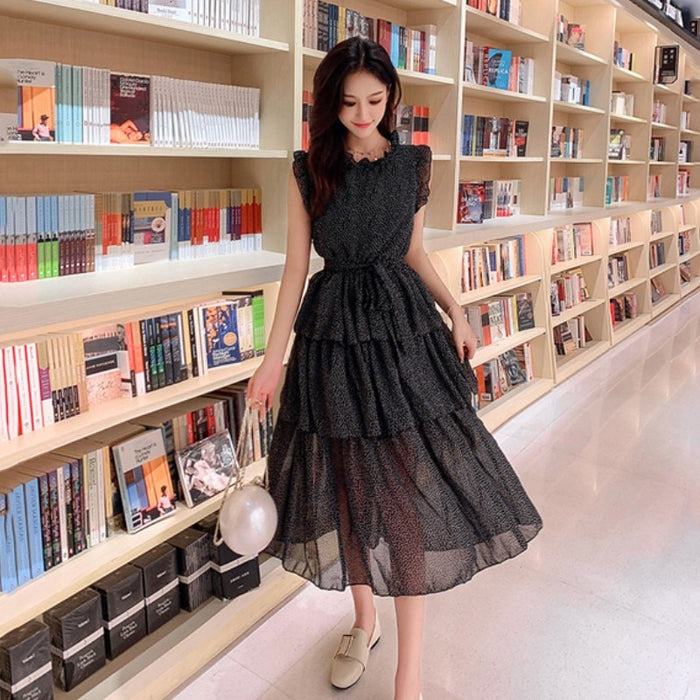 sleeveless summer Collect waist Dress Sexy black Ruffled white dots Long cake Dress