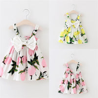 Lemon Print Cute Baby Girls Bowknot Summer Floral Dress Sundress Clothes 0-3Y
