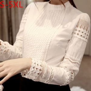Womens Blouses tops Slim Bottoming Long sleeve White Shirt women Lace blouse woman blusas female Hollow out Plus Size 5XL
