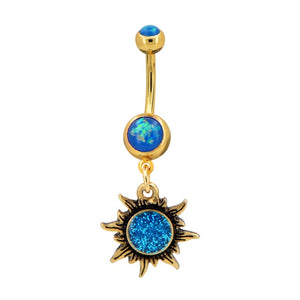 Summer Bikini Belly Button Rings 14G Rainbow Moon Star CZ Navel