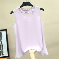 Women's Blouses 2019 New Sleeveless Sexy V Collar Shirt for Women Chiffon Blouse Summer Casual Plus Size 5XL Female Tops