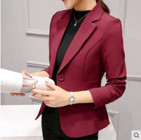 Jackets Women Blazer Pink Long Sleeve Blazers Solid One Button Coat Slim Office Lady Jacket