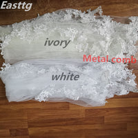 Real Photos White/Ivory Wedding Veil 3m Long Comb Lace Mantilla Cathedral