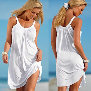 2019 New Women Strap Loose Vestidos Summer Sleeveless Causal Solid Robe Beach Sundress Party Casual Sexy Mini Dress Swimwear