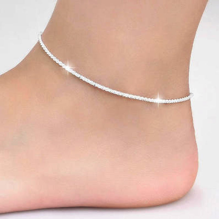 Thin 925 stamped silver plated Shiny Chains Anklet For Women Girls Friend Foot Jewelry Leg Bracelet Barefoot Tobillera de Prata