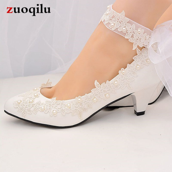 2019 white wedding shoes woman ankle strap high heels pumps women shoes ladies