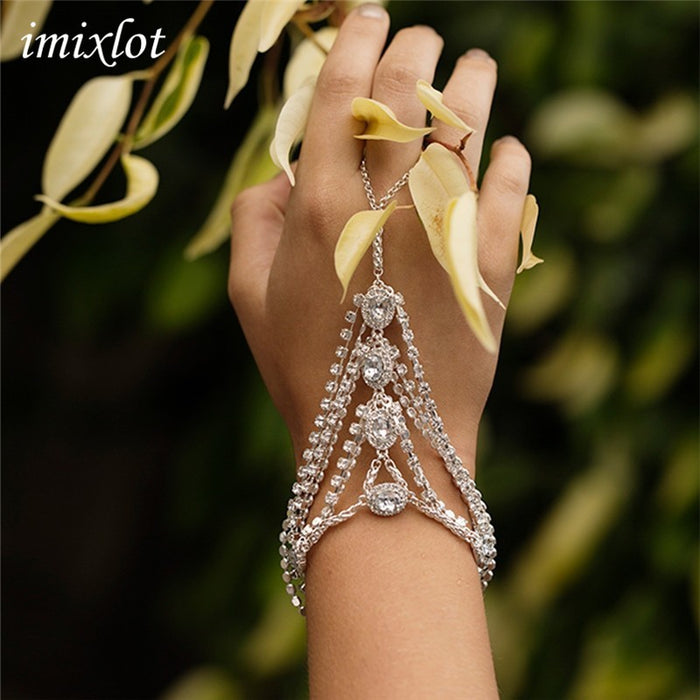 Fashion Glitter Rhinestone Hand Bracelet Slave Chain Link Finger Ring Gold