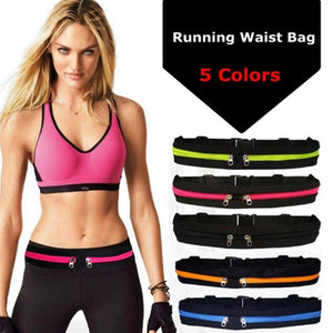 Sports Bag Waterproof Elastic Running Jogging Waist Bags Pocket Adjustable Outdoor Phone Money Anti-theft Pack Belt Sports Bag