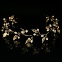 Gold Silver Headbands Hair Jewelry Pearl Crystal Leaf  Bride Tiaras Headpiece Wedding