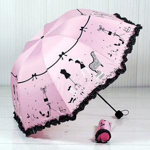 2019 New Arrival Beautiful Girl Pattern Umbrella Rain Women Fashion Arched Princess