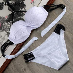 2019 Hot Lace Push Up Swimsuit Solid Bikini Set Cut Out Swimwear Bandeau Bikinis Women Swimming Suit Wired Bra Bathing Suit E610