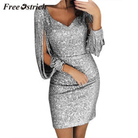 Free Ostrich 2019 Women Sexy Solid Sequined Stitching Shining Club Sheath Long