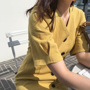 V Neck Dresses Women Summer Short Sleeve A Line Cute Sweet Girls Korean