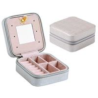 Travel Mini Jewelry Box Leather PU Jewelry Packing Case Portable Earring Ring Organizer Zipper Women Jewellry Display Box Gift