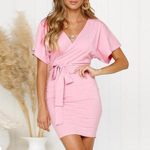 New Shelves Dress Womens V Neck Wrap Mini Ladies Bodycon Evening Party Bandage