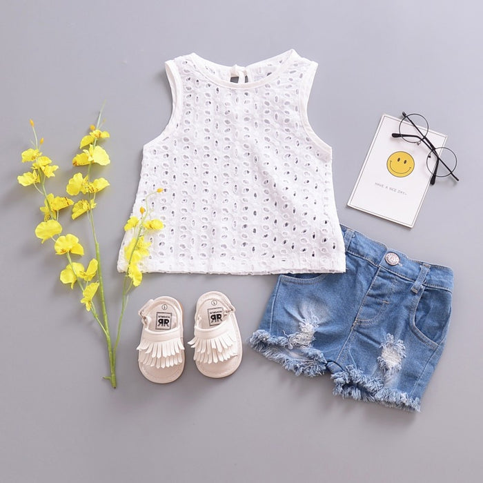 Baby Cute Lace Hollow Tops T-shirt Blouse White Outfits Sleeveless Newborn Baby Girl Cotton T-shirt No Pant