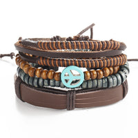 MKENDN Wholesale 4PCS/Set leather bracelet Men multi-layer bead bracelet