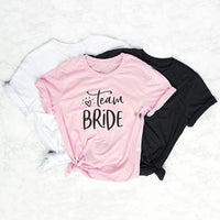 Team bride couple t-shirt camiseta rosa feminina bride squad weed clothing pretty women fashion tees cotton graphic slogan tops
