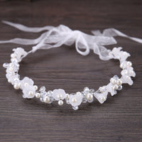White Crystal Pearl Flower Headband Bridal Tiaras Headpiece Hair Jewelry