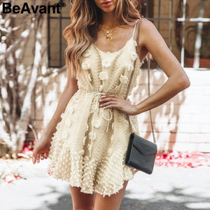 flower short dress women Elegant spaghetti strap lace up sundress White ruffled