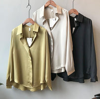 2019 Spring Women Korean Fashion Long Sleeves Satin Blouse Vintage Femme